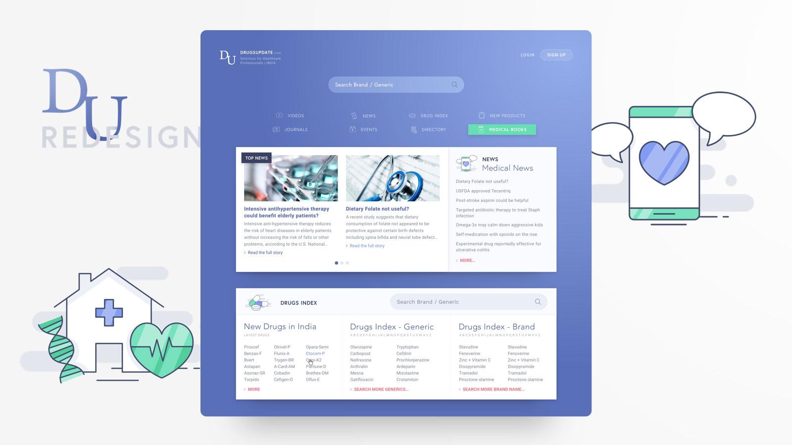 DrugsUpdate full UX, UI and mobile redesign